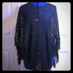 Tops - Black knit shawl v shape
